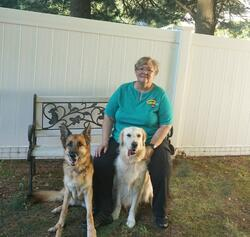 Picture of Jess & Tia with Pat Coglianese from the Alliance of Therapy Dogs